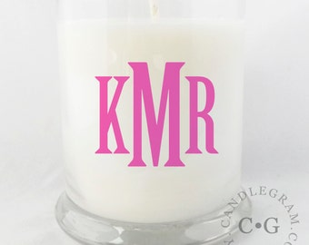 Monogram Soy Candle...10oz... Choose you Scent and Colors...Monogram Gifts//Gifts for Her//Natural Soy Candle