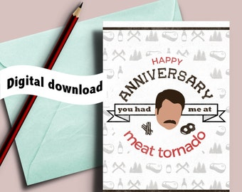 Ron Swanson love card, Printable Anniversary card, You had me at meat tornado, Parks and recreation quote, Bacon and eggs, Ron Swanson quote