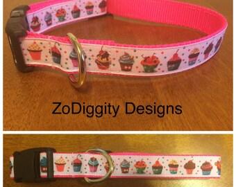 """1"""" Pink Cupcake Dog Collar"""