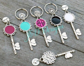 Personalized Heart Skeleton Key Enamel Key Chain