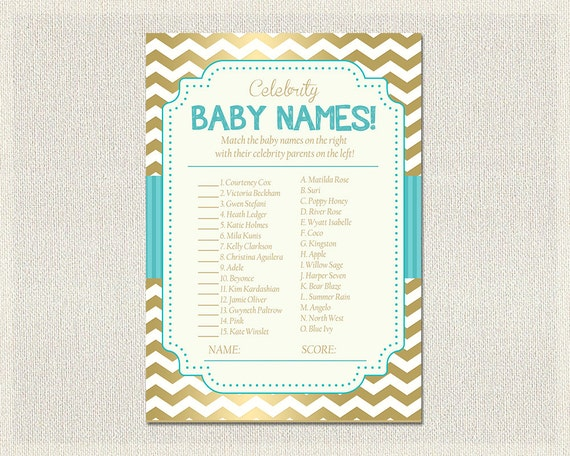 Baby Shower Theme Quiz ~ Celebrity baby names shower quiz blue