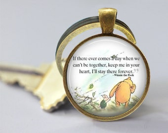 Winnie The Pooh Quote 3 Glass Pendant, Photo Glass Necklace, Glass Keychain
