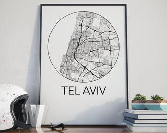 Tel Aviv, Israel Minimalist City Map Print