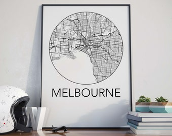 Melbourne, Australia Minimalist City Map Print