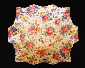 Vintage James Kent Chintz Chelsea Sweet Meat Dish with Rosalynde pattern
