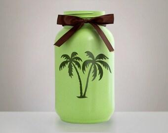 Palm Tree Mason Jar