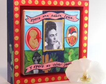 Frida Kahlo Painting with Painted Wood Frame. Frida Painting