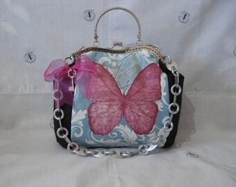 butterflies vintage handbag