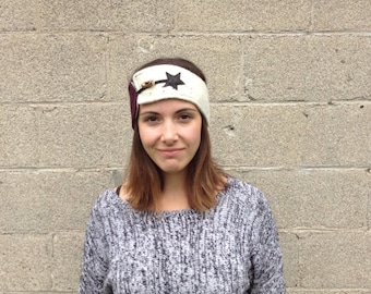 Headband for Brown and white winter wool Collection Gaia - winter band - band hot - recycled banner - 50% off - band