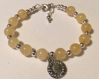 Yellow sunflower bracelet
