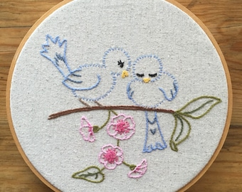 Loving Bluebirds Embroidery Hoop