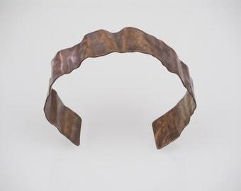 Crumpled Copper Cuff Bracelet