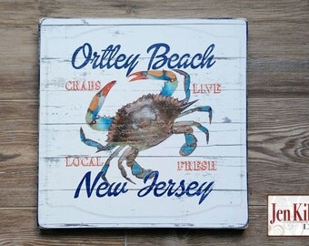 Jersey Shore Ortley Beach NJ Sign Blue Claw Crab Beach Themed Gift