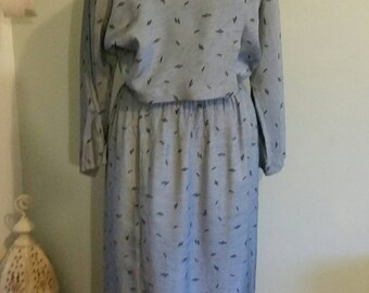 1980s shimmer grey dress with black specks