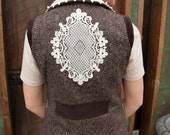 """Brown Tweed Vest with Off-White Lace Details--""""BERTHA"""""""