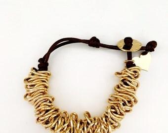 Gold Coil Brown Leather Bracelet