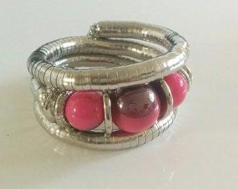 Pink n Silver Spiral Metallic Bracelet