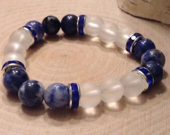 Women's Stackable Quartz & Blue Spot Jasper Bead Bracelet