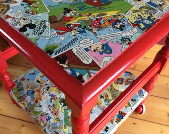 Comic furniture - upcycling - Micky Maus - stool - side table