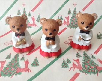 c.1990's~Homco Christmas Chior Bears