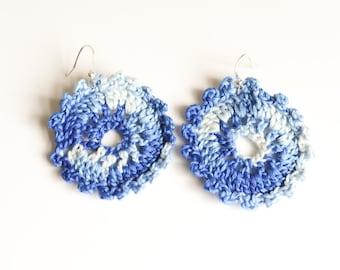 Blue Flowerburst pierced crochet earrings
