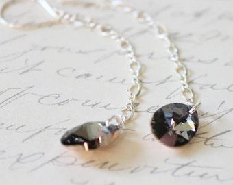 Crystal Rose Gold Swarovski pear sterling silver earrings