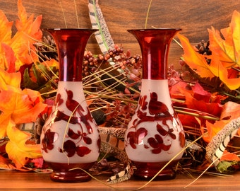 Victorian Hand Blown Vases in Red