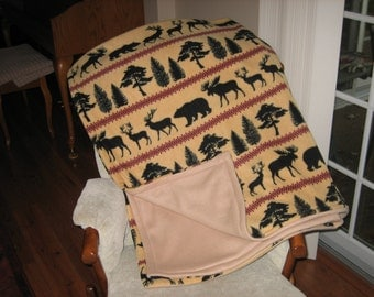 Northwood Stripe Camel Fleece Blanket