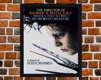 Framed Edward Scissorhands Johnny Depp Movie / Film Poster A3 Size Mounted In Black Or White Frame