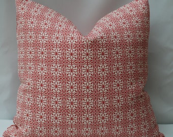Pink and White Decorative Pillow Cover. Upholstery Fabric