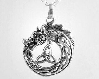 Dragon Necklace~Silver Dragon Pendant~Celtic Dragon Jewelry~Dragon Jewelry~Celtic Knot Necklace~Mens Celtic Jewelry~GOT Jewelry