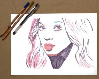 Art Print, Original Drawing, wall art, Illustration, Pop Star Poster, original artwork, Beyonce portrait, pop art portrait