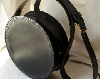 Round leather bag black - Slavic patterns