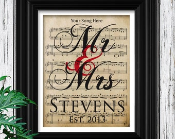 2nd Anniversary Gift on Cotton Velvet Paper | Choose Your Song Sheet Music | Museum Quality Print | Weddings, Engagements, Anniversaries Art