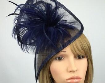 Navy Dark Blue fascinator wedding Fascinator Hat Occasion gatinator Ascot Ladies Day mother of the bride