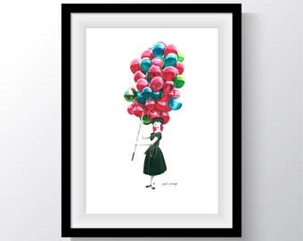 Audrey Hepburn Balloons Art Print