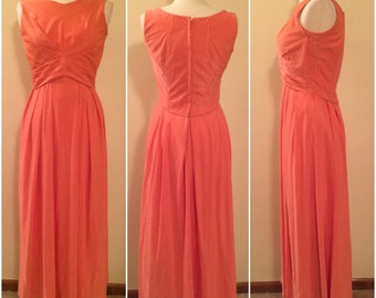 Emma Domb vintage 1960s salmon lurex maxi evening dress