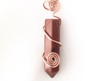 goldstone and copper necklace