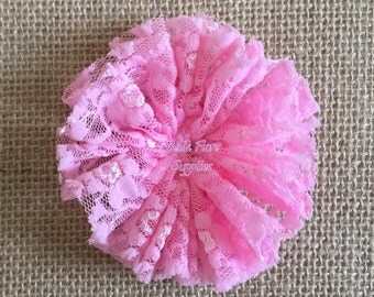 Pink Lace Ballerina Flowers, Lace Flowers- 3 inch, Wholesale, DIY, Lace Headband