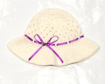 Crochet Girls Hat, Easter Hat, Spring hat, Toddler Girls, Baby Girls, Easter Bonnet, Sun Hat, Easter Gift, size Toddler, 1 - 4 Years.