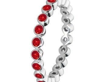 Red Stone Ring 925 Solid Sterling Silver Round Stone Stacking Stackable Stack Band Women