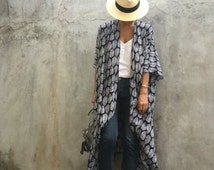 Kimono,Cardigan,Beach cover up,Bohemian,fasetival,Black kimono,Big size