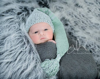 Knitted Long Tail Hat 100% Cotton Newborn, Baby, Sitter Photography Prop