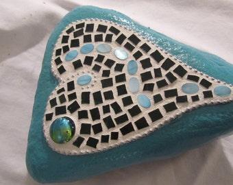 Aqua Mosaic Garden Rock