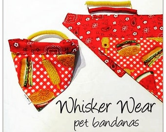 BBQ summer, reversible dog scarf, dog bandana, pet scarf, pet bandana, pet attire, pet clothing,summer, reversible