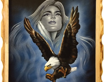 Eagle with Woman Oil Velvet Painting