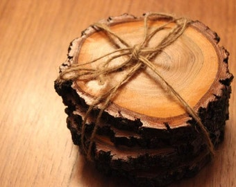Apricot wood hand crafted coasters - Set of 4