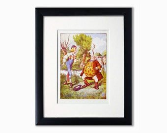 Alice In Wonderland Genuine Vintage Illustration.Recycled Book Page.Wall Art.Birthday Gift.Booklover Gift. Illustration.Father William.