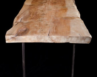 Wooden Table on Metal Base