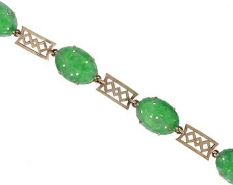 Carved Green Jade Bracelet